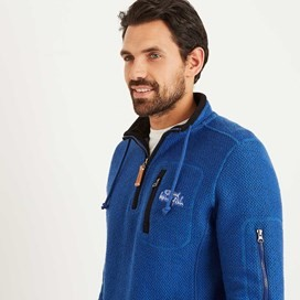 Bowline 1/4 Zip Technical Macaroni Sweatshirt Deep Ocean