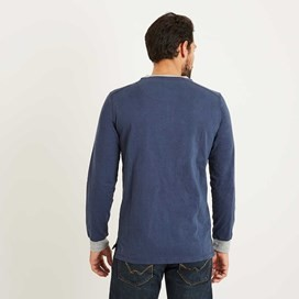 Maurice Button Neck Long Sleeve T-Shirt Maritime Blue