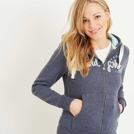 Polly Full Zip Applique Hoodie Ink