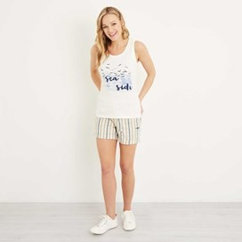 Shoreline Graphic Vest Light Cream