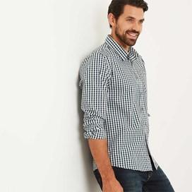 Lougheed Long Sleeve Mini Check Shirt Evergreen