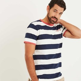 Higgins Bold Striped T-Shirt Maritime Blue