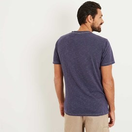 Yorke Garment Dyed Striped T-Shirt Maritime Blue