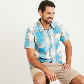 Trevelyan Micro Sanded Short Sleeve Check Shirt Bright Blue