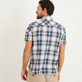 Palazzi Seersucker Short Sleeve Check Shirt Maritime Blue