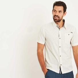 Tibbet Micro Print Slub Short Sleeve Shirt Marshmallow