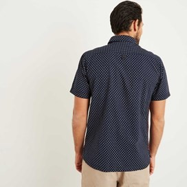 Tibbet Micro Print Slub Short Sleeve Shirt Maritime Blue