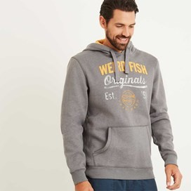 Leiter Applique and Graphic Print Hoodie Pewter