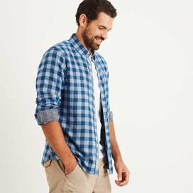 Koen Long Sleeve Gingham Check Shirt Deep Ocean