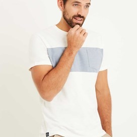 Jenthe Printed Chest Stripe T-Shirt Marshmallow