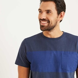 Jenthe Printed Chest Stripe T-Shirt Maritime Blue