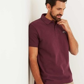 Saltash Rib Collar Pique Polo Shirt Wine