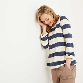 Ajay Cotton Slub Stripe Long Sleeve T-Shirt Dark Denim