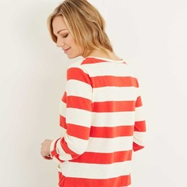 Ajay Cotton Slub Stripe Long Sleeve T-Shirt Tango Red