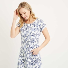 Tallahassee Printed Cotton Jersey Dress Dark Denim