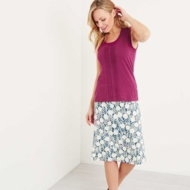 Malmo Printed Jersey Skirt Dark Denim