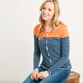 Alexis Striped Nep Outfitter Cardigan Dark Denim