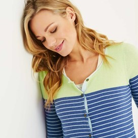 Alexis Striped Nep Outfitter Cardigan Dark Lavender