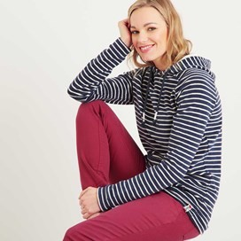Juna Striped Towelling Hoodie Dark Denim