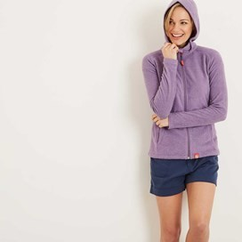 Amara Pinstripe Full Zip Fleece Hoodie Grape Soda