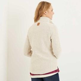 Damla Print Trim Full Zip Classic Macaroni Jacket Ecru
