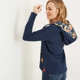 Hani Print Trim Full Zip Classic Macaroni Hoodie Dark Denim