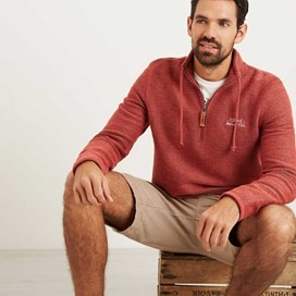 Skipper 1/4 Zip Classic Macaroni Sweatshirt Brick Red