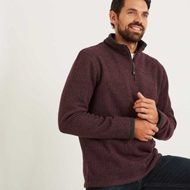 Ferdy 1/4 Zip Grid Fleece Burgundy