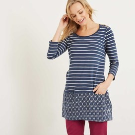 Mandovi Stripe Jersey & Printed Viscose Tunic Dark Denim