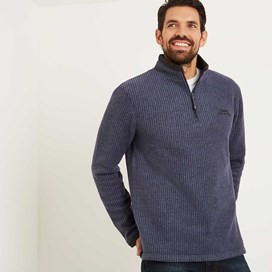 Ferdy 1/4 Zip Grid Fleece Dark Navy