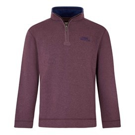 Hail 1/4 Zip Neck Embroidered Sweat Wine