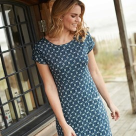 Tallahassee Printed Cotton Jersey Dress Ink