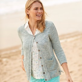 Elisa 3/4 Sleeve Marled Cable Outfitter Cardigan Dark Denim