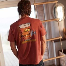 Beered Fish Artist T-Shirt Brick Red