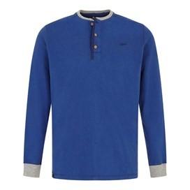 Maurice Button Neck Long Sleeve T-Shirt Deep Ocean