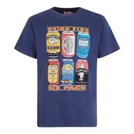 6 Pack Beer Cans Artist T-Shirt Ensign Blue