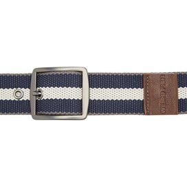 Rumble Striped Fabric Webbing Belt Maritime Blue
