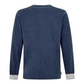Maurice Button Neck Long Sleeve T-Shirt Maritime Blue