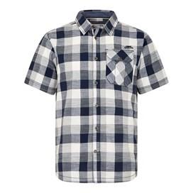 Almus Slub Check Shirt Black Iris