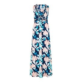 Cloud Printed Maxi Dress Dark Navy