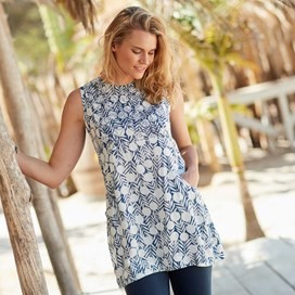 Sachi Printed Lightweight Tunic Dark Denim