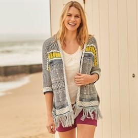 Zita Jacquard Knit Kimono Dusty Teal