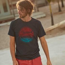 Gradient Bones Graphic Print T-Shirt Maritime Blue Marl