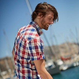 Wint Vintage Wash Short Sleeve Check Shirt Deep Ocean