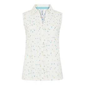 Wallace Sleeveless Print Shirt Light Cream