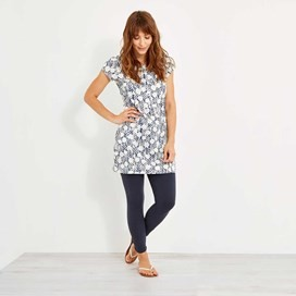 Alanis Printed Stretch Tunic Dark Denim