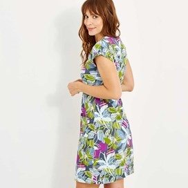 Tallahassee Printed Cotton Jersey Dress Petrol Blue