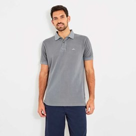 Edwin Garment Dyed Polo Shirt Pewter