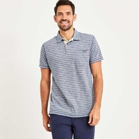 Gibson Slub Stripe Polo Shirt Deep Ocean
