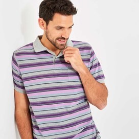 Bolam Stripe Polo Grey